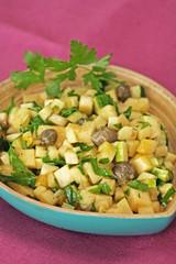 raw zucchini and caper salad