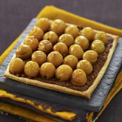 chocolate and mirabelle plum tart