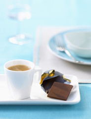 expresso and squares of chocolate