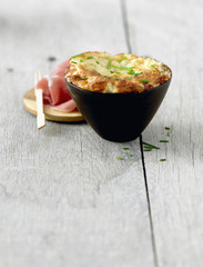 gorgonzola and cauliflower soufflé