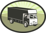Delivery or camper van viewed from high angle poster