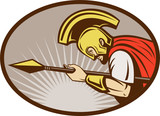 Roman soldier or gladiator with spear poster