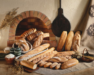 bread loaves and baguettes