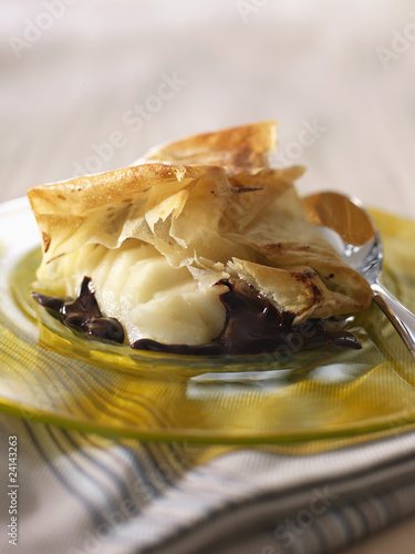 pear and chocolate filo pastry dessert