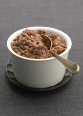 bowl of chocolate rice pudding