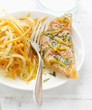 salmon marinated with orange and coriander,carrot and beansprout salad