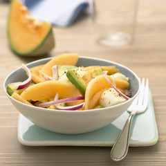 haut poitou melon,mozzarella and avocado salad
