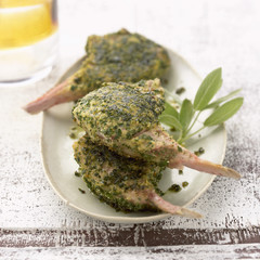 lamb chops cooked in herb crust