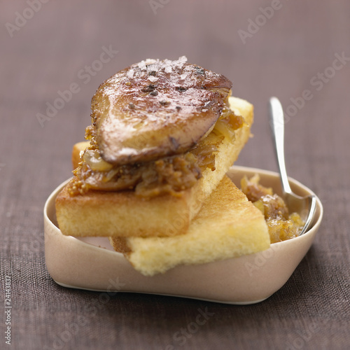 pan-fried foie gras and stewed onions on taost