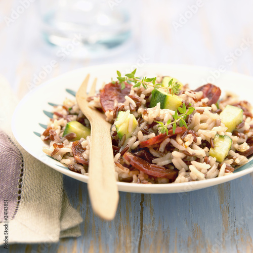 camargue rice with chorizo and vegetables