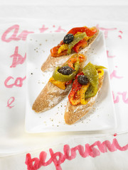 three colored peper bruschettas