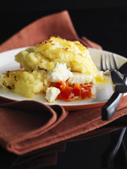 feta and red pepper parmentier