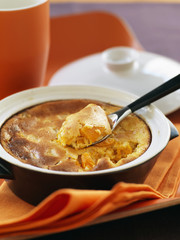 vanilla-flavored pumpkin batter pudding