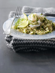 quinoa tabbouleh with halibut and herbs