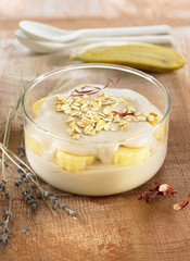 bananas with lavander and almond cream