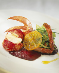lobster with beetroot and crystallized orange