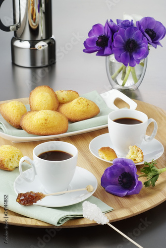 coffee for two with madeleines