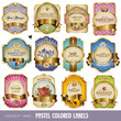 set of 12 pastel colored labels with golden elements