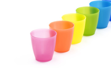 Row of Various coloured cups