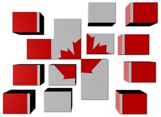 Canadian Flag on cubes against white illustration
