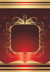 Golden frame on the decorative background. Wrapping. Vector