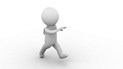 3d white cartoon human running at white background