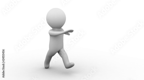3d white cartoon human running at white background