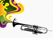 Designed stylized banner with trumpet.