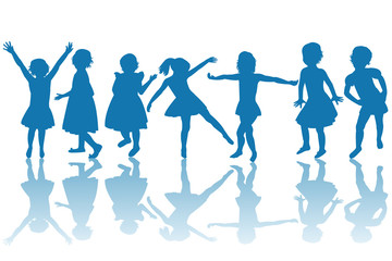 Happy children blue silhouettes