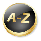 A-Z Web Button (dictionary index directory icon gold vector 3D) poster