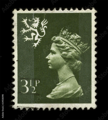 Postage Stamp showing Portrait of Queen Elizabeth.