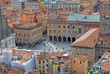Bologna aerial view from Asinelli tower, main square