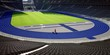 Leinwanddruck Bild - workers in soccer stadium