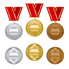 Gold silver and bronze medals set