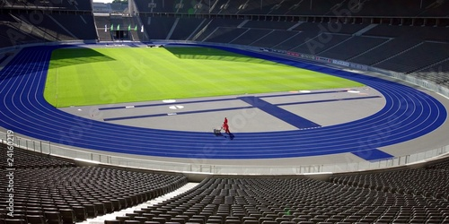 workers in soccer stadium - 24160219