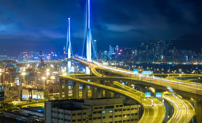 Hong Kong Bridge of transportation at night