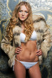 beautiful blonde in fur jacket