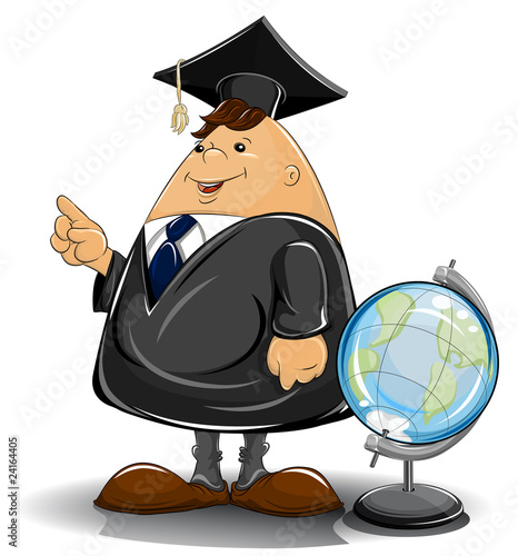 professor in cloak with globe