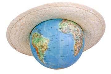 globe in straw hat