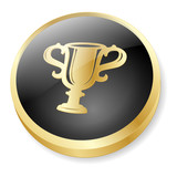 AWARDS Web Button (Cup Winner Gold Medal First Prize 3D Vector) poster