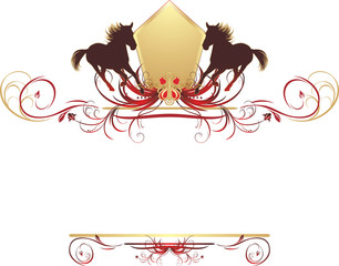Silhouettes of hurrying horse on the stylish floral ornament