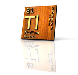 Thallium form Periodic Table of Elements - wood board