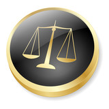 SCALES OF JUSTICE Web Button (Icon Law Legal Advice Gold Vector) poster