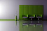 minimal green living room poster