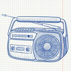 Radio tape recorder, vector illustration