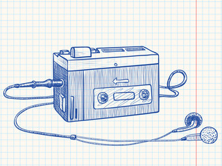Retro audio cassette or tape recorder
