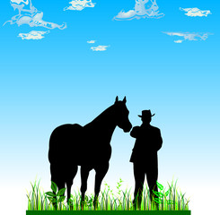 man and horse black vector silhouettes