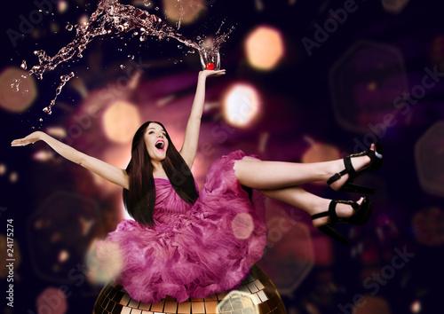 beauty woman on a disco - 24175274