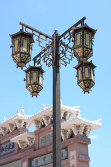 A 4 way lamppost  in chinese style.Thailand.