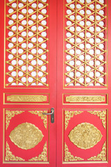 The red door with gold texture in chinese style.